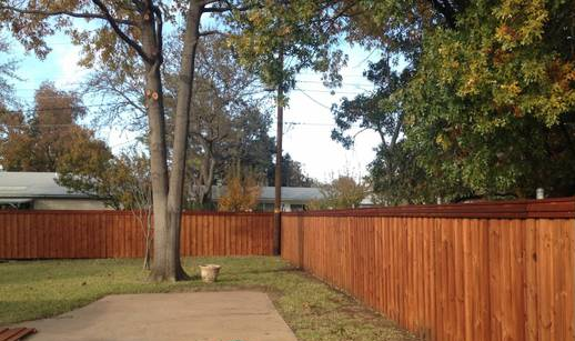 6x8 Board on Board Brazilian Brite Pine sealed with ReadySeal stain in Mahogany